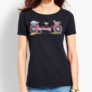 Talbots beaded double seat bicycle tee shirt